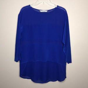 Trina Turk blue semi sheer wide stripe silk top